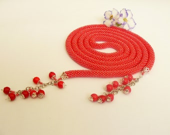 Hand Crocheted Beaded Lariat Necklace -Pomegranate -