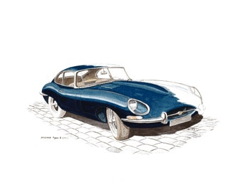 Old car Jaguar type E 1961 original painting watercolour on paper