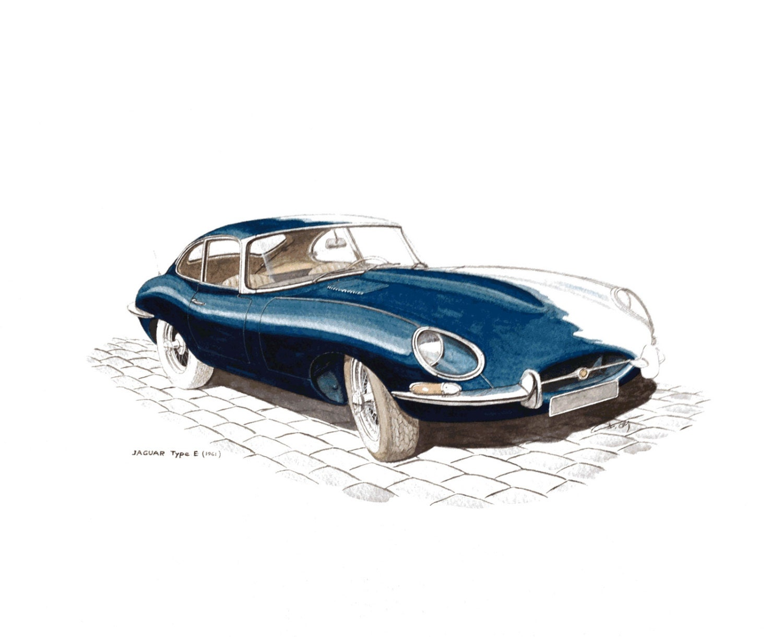 voiture ancienne jaguar type e 1961 peinture aquarelle. Black Bedroom Furniture Sets. Home Design Ideas