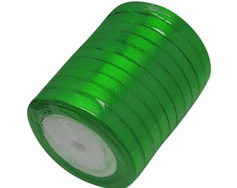 Green Satin Ribbon 6mm | 5 Rolls - 25 Yards per Roll| Ribbon Reel | 282-Rib