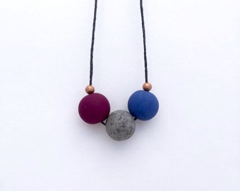 Beaded necklace, polymer clay necklace, minimal necklace