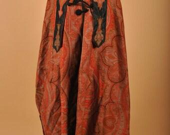 1890's Victorian Hooded Paisley Cloak Cape Rare
