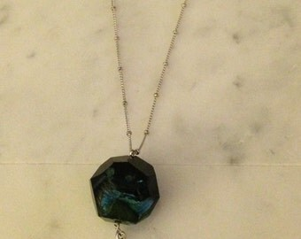 Blue Agate Feather Necklace