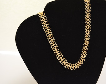 Gold Chainmaille 18in neclace with Toggle closure