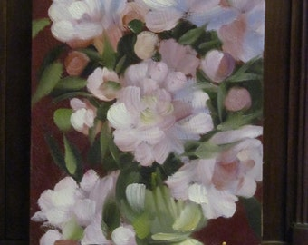 Oil Painting. Peonies . Artist A.Shubert. Floral. Original. Signed