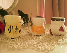 Vintage animal egg cups from the 90s- Set of three egg cups for childen- Piggy, cat and turtle egg cups