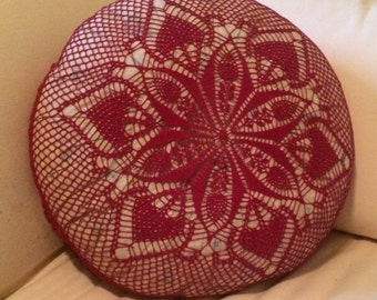 A Burgandy Hand Crocheted Pillow Cover
