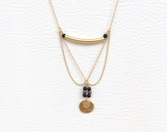 Long Tribal Coin Necklace in Matte Gold with Black beads - Gypsy and Boho Disc Necklace