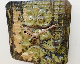 "Industrial salvaged home decor natural patina 6""X6"""