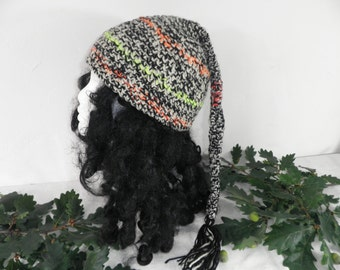 Monochrome Fairy With A Flash Of Neon Hand Made Crochet Hat