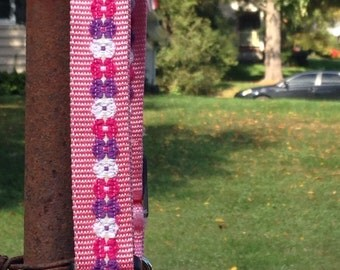 "Pre made Pink Flower Power 1"" XL dog collar"