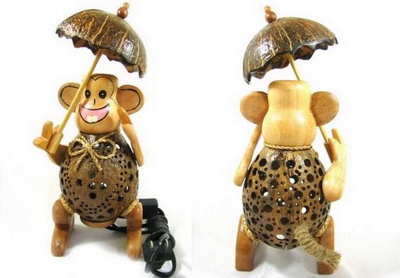 monkey umbrella lamp coconut shell bedroom lamp table floor. Black Bedroom Furniture Sets. Home Design Ideas