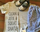 Kids Graphic Tee-  Crossfit- Clean  jerk  squat  snatch-  boys shirt- barbell-gym- kid