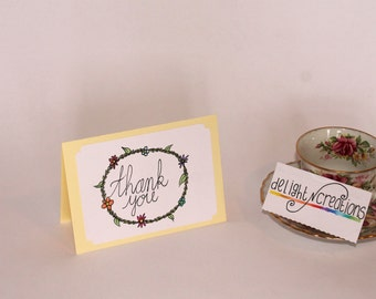 THANK YOU, greeting card, handmade
