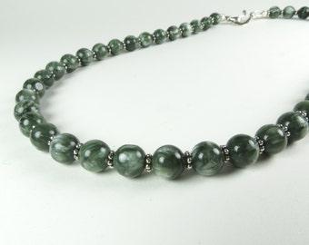Green Seraphinite and Silver Necklace