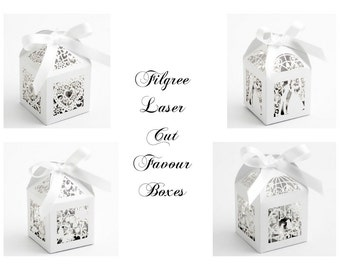 10 White Laser Cut Favour Boxes - Filigree heart, Butterfly, Bride and Groom & Birdcage Designs