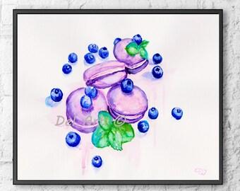 Macaron Poster Macaron Art print Macarons with blueberry and Mint Macarons Watercolor art,Macaron painting,Macaron decor art,Macaron print