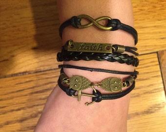 Faith bracelet,infinity bracelet,charm bracelet,friendship bracelet