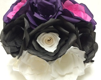 Masterball Bouquet, pokemon, Pokeball, wedding bouquet, geek wedding, nerd wedding, Pokemon party, paper flowers, coffee filter roses