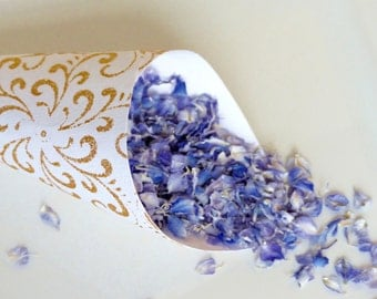 Real Flower Petal Confetti: All Natural, Blue & White, Eco-Friendly, Biodegradable, Flower Petal Wedding Confetti, Enough for 10 People.