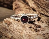 Garnet ring, natural garnet ring, sterling silver, stackable ring, January birthstone size 6.75