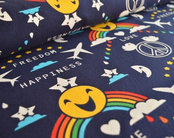 Organic cotton jersey knit fabric. Happiness by Shalmiak, Sari Ahokainen. Per 1/2 metre.