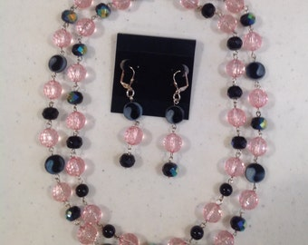 Pink & Black Necklace and Earrings