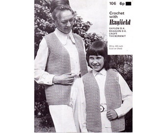 Genuine Vintage 1960s Mother and Daughter Waistcoats Crochet Pattern PDF