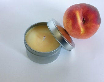Peach Nectar Candle / Fruit scented/ 6 oz Natural Soy wax/ refillable/ zero waste/