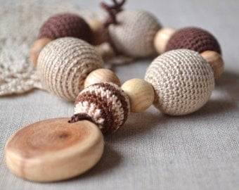 Brown beige toy Juniper teether  Crochet Wooden beads Natural teething toy Baby first toy Gifts for mom and baby Crochet Eco Friendly
