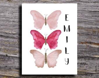 Personalized Butterfly Print, Butterfly Nursery Print, Personalized Wall Art, Baby Shower Gift, Watercolor Butterfly Art