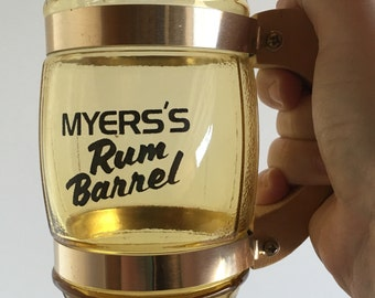 Vintage Myers's Rum Barrel Glasses, Barware, Glassware
