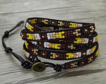 bead wrap bracelet Red wrap bracelet gypsy seed bead bracelet boho leather wrap bracelet bead leather bracelet seed bead jewelry SL-0405