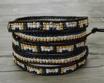 BOHO Seed bead wrap bracelet leather bead bracelet leather wrap bracelet Gypsy bracelet 5 wraps bracelet yoga bracelet bead jewelry SL-0389