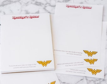 Custom Wonder Woman Note Pad with 6 Quotes | DC Comics