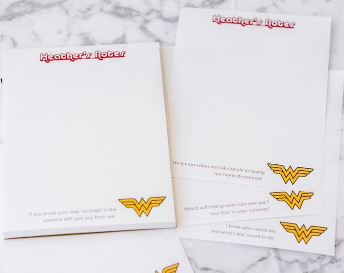 Featured listing image: Custom Wonder Woman Note Pad with 6 Quotes | DC Comics