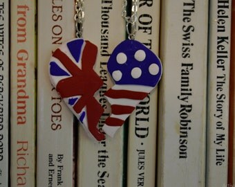 British and American Flag Heart Best Friend Necklaces
