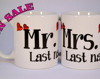 Wedding Gift, Wedding Present, Newly Married Mr. & Mrs. Mugs,personalized wedding gifts,Mr.and Mrs. mugs with hearts,Mr. and Mrs.custom mugs