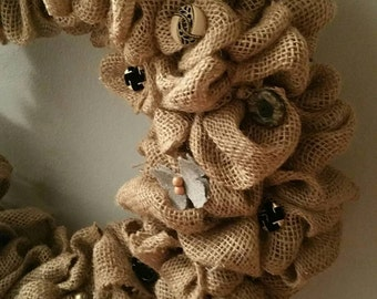 Extra Large Burlap Wreath with Antique Buttons