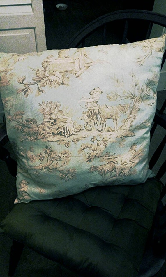 Powder Blue Decorative Pillows : Decorative Pillow Powder Blue Toile 19 19