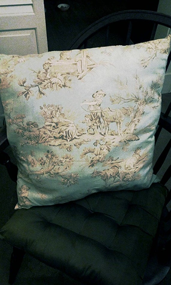decorative pillow powder blue toile 19 19. Black Bedroom Furniture Sets. Home Design Ideas