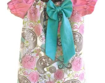Pink and Aqua Peasant dress