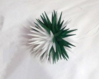 Green and White Handmade Polish Star Holiday Tissue Ornament