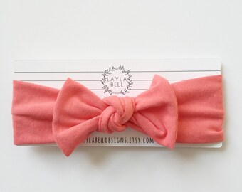 Coral Jersey Bow Headwrap, Knit Headwrap, Baby Headband, Bow Headband, Hair Accessory, Toddler Headband, Coral, Valentines Headwrap