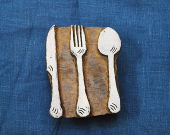 Cutlery Set Stamp, Block Printing Wooden Stamp - Hand Carved Indian Wood Block Textile Stamps - Fabric Stamp - Stamp Blocks