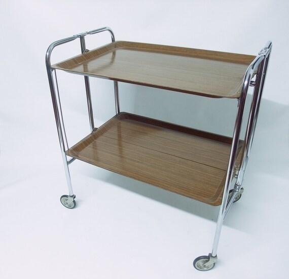 Mid Century Tea Trolley 1960s Tea Wagon Serving Bar Cart Wood