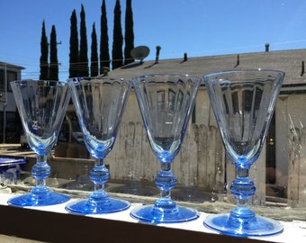 Vintage Blue Cordial Glasses; Mid Century Barware; Blue Glassware; Duralex Glass; Blue Drinkware