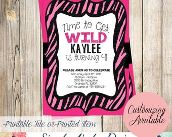 Pink and Black Zebra Print Brthday Invitation