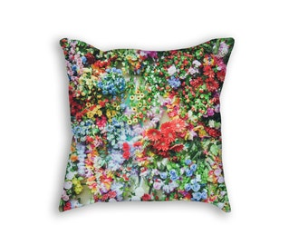 Flowers Throw Pillow, Colorful Garden of Flowers Decorative Pillow
