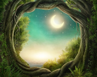 Tree Hole Backdrop - fairy tale, moon and stars - Printed Fabric Photography Background G1181